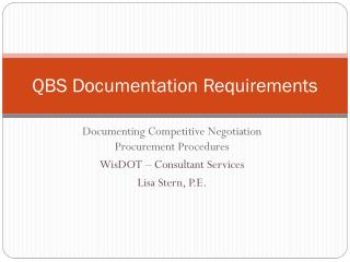 QBS Documentation Requirements