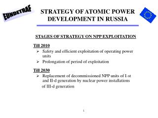 STRATEGY OF ATOMIC POWER DEVELOPMENT IN RUSSIA
