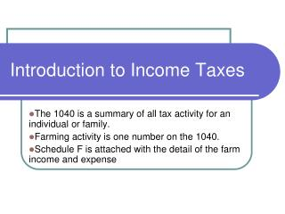 Introduction to Income Taxes