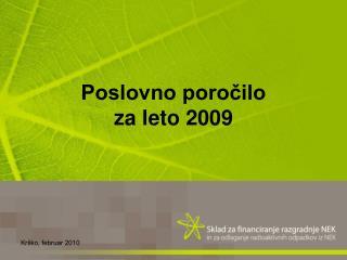 Poslovno poročilo  za leto 2009