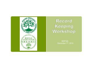 Record Keeping  Workshop