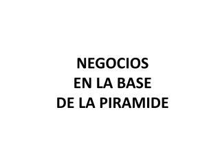 NEGOCIOS  EN LA BASE  DE LA PIRAMIDE