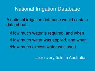National Irrigation Database