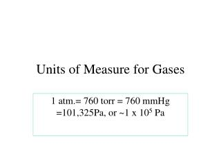 Units of Measure for Gases