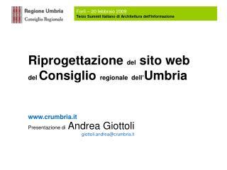 Riprogettazione  del  sito web  del  Consiglio  regionale dell' Umbria crumbria.it