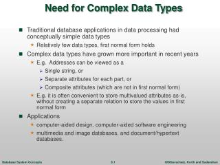 Need for Complex Data Types