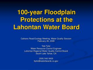 100-year Floodplain Protections at the Lahontan Water Board
