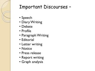Important Discourses –  Speech  Diary Writing  Debate  Profile  Paragraph Writing  Editorial