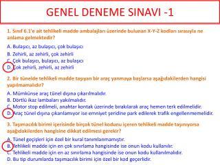 GENEL DENEME SINAVI -1