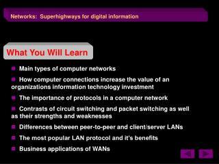Networks:  Superhighways for digital information