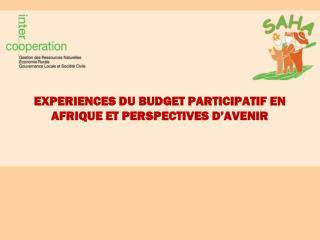 EXPERIENCES DU BUDGET PARTICIPATIF EN AFRIQUE ET PERSPECTIVES D'AVENIR