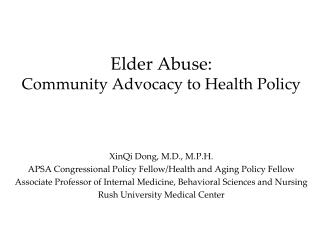 Elder Abuse: Community Advocacy to Health Policy