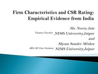 Firm  Characteristics and CSR Rating: Empirical Evidence from India