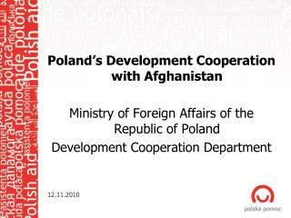 Poland�s Development Cooperation with Afghanistan
