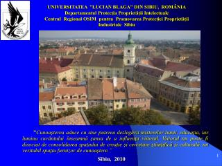 UNIVERSITATEA  �LUCIAN BLAGA� DIN SIBIU,  ROM�NIA
