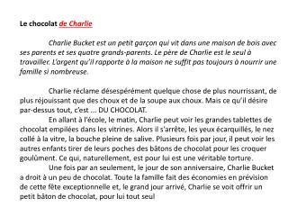 Le chocolat  de Charlie