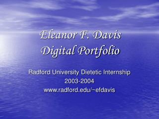 Eleanor F. Davis Digital Portfolio
