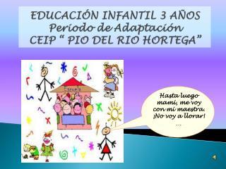 """EDUCACIÓN INFANTIL 3 AÑOS Periodo de Adaptación CEIP """" PIO DEL RIO HORTEGA"""""""