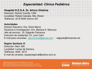 Especialidad: Clinica Pediátrica