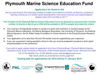 Plymouth Marine Science Education Fund