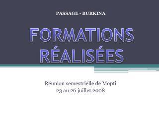 FORMATIONS RÉALISÉES