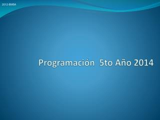 Programación  5to Año 2014