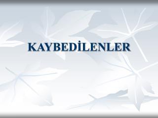 KAYBED?LENLER