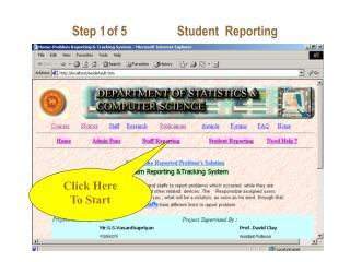 Step 1of 5Student  Reporting