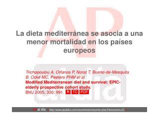 La dieta mediterránea se asocia a una menor mortalidad en los países europeos
