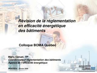 Révision de la réglementation en efficacité énergétique des bâtiments