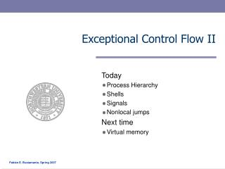 Exceptional Control Flow II