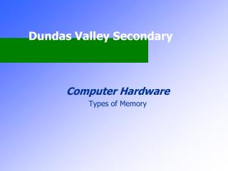 Computer Hardware Types of Memory