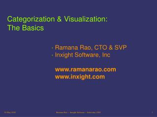 Categorization & Visualization: The Basics