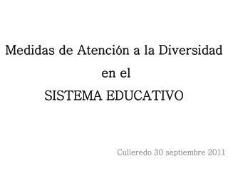 Medidas de Atención a la Diversidad  en el  SISTEMA EDUCATIVO