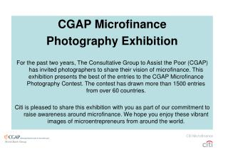 CGAP Microfinance Photography Exhibition