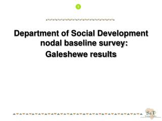 Department of Social Development nodal baseline survey: Galeshewe results