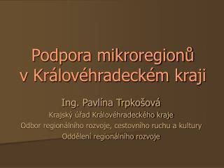 Podpora mikroregionů  v Královéhradeckém kraji