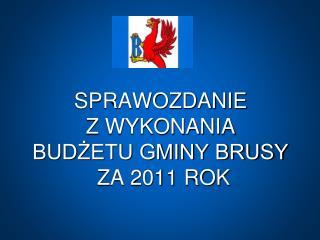 SPRAWOZDANIE  Z WYKONANIA  BUDŻETU GMINY BRUSY  ZA 2011 ROK
