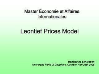 Leontief Prices Model
