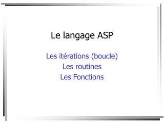 Le langage ASP