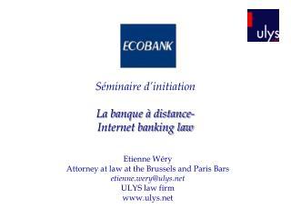 Séminaire d'initiation  La banque à distance- Internet banking law