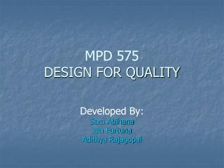 MPD 575  DESIGN FOR QUALITY