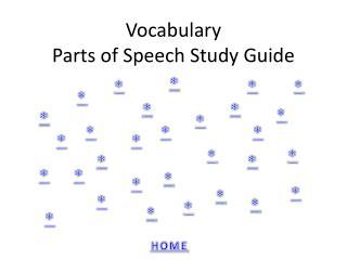 Vocabulary Parts of Speech Study Guide