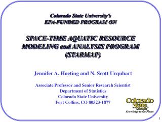 Jennifer A. Hoeting and N. Scott Urquhart Associate Professor and Senior Research Scientist