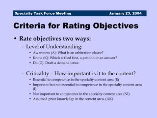 Criteria for Rating Objectives