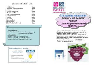 17è Journée N3 poule B BEAUJOLAIS BASKET RECOIT   Croix d'Argent Montpellier 19/02/2011