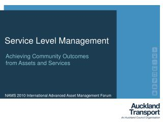 Achieving Community Outcomes from Assets and Services