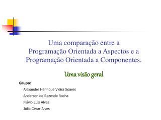 Grupo:     Alexandre Henrique Vieira Soares     Anderson de Rezende Rocha     Flávio Luis Alves