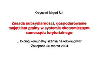 Krzysztof M ą del SJ
