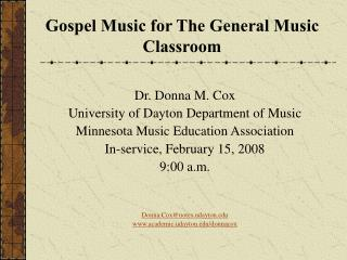 Gospel Music for The General Music Classroom